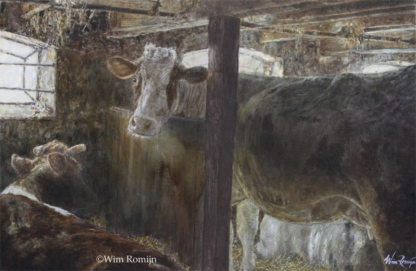 Melkkoeien in friese stal wim romijn art - Associatie van kleur e geen schilderij ...