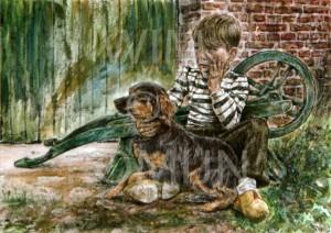 Wenskaart Jongen met hond