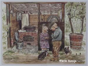 Wenskaart Kinderen bij het washok