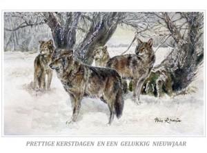 Kerstkaart Roedel Europese wolven