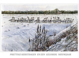 Kerstkaart grauwe ganzen in sneeuwlandschap