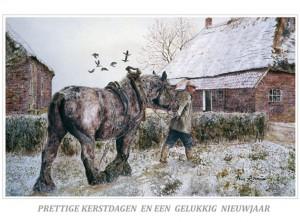 Kerstkaart Evelien gaat terug naar de stal