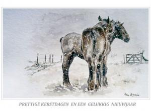 Kerstkaart Trekpaardveulens in sneeuwbui