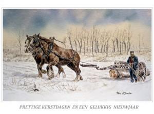Kerstkaart Twee Belgische trekpaarden voor de mallejan