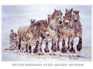 Kerstkaart Vier trekpaarden in sneeuwbui