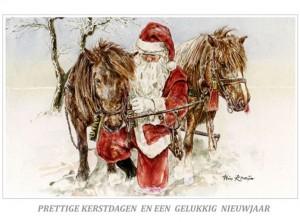 Kerstkaart Kerstman en zijn Shetlanders