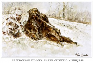 Kerstkaart Beren in de sneeuw