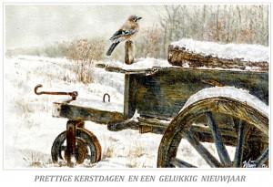 Kerstkaart Vlaamse gaai op wipkar