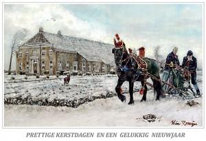 Kerstkaart Fries paard voor Groninger boerderij