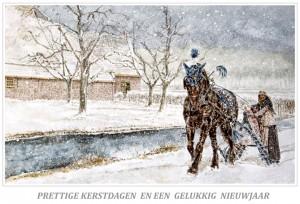 Kerstkaart Fries paard voor arrenslede