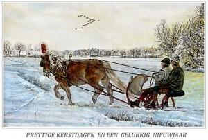 Kerstkaart Haflinger voor Oostenrijkse slede
