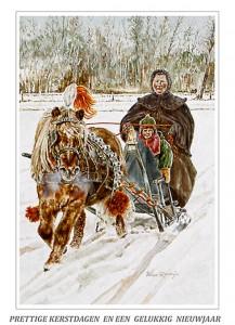kerstkaart Shetlander voor arrenslede