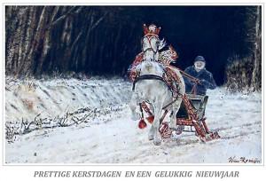 Kerstkaart warmbloedpaard voor arrenslede