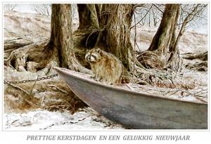 Kerstkaart Wasbeer in roeiboot