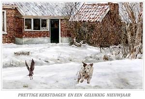Kerstkaart hond en kauw in de sneeuw