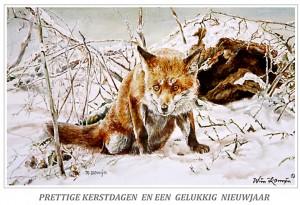 Kerstkaart Alerte vos in de sneeuw