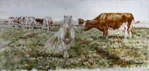 Shetlander en koeien