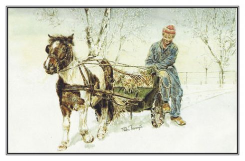Kerstkaart Jongen en Shetlander