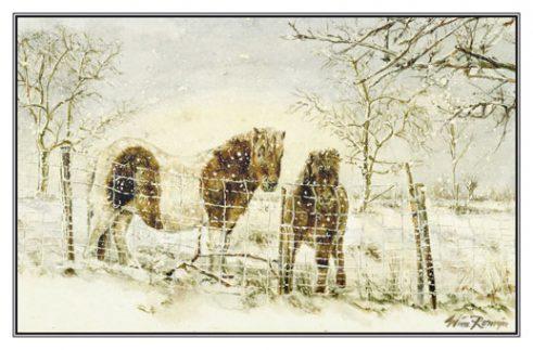 kerstkaart, kunstkaart, Shetlander, pony, dierenschilder, paardenschilder