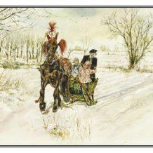 Kerstkaart Fries paard voor arrenslede en haas