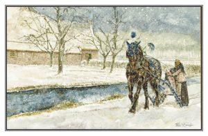 Kerstkaart Fries paard voor arrenslede bij boerderij