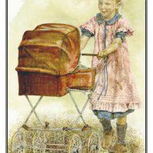 Geboortekaart Meisje achter kinderwagen