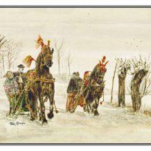 Kerstkaart Friese paarden voor arrensleden/competitie