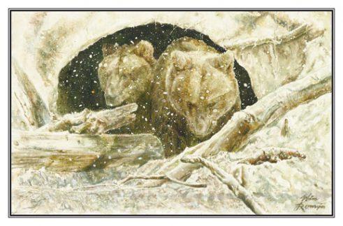 Kerstkaart Europese bruine beren