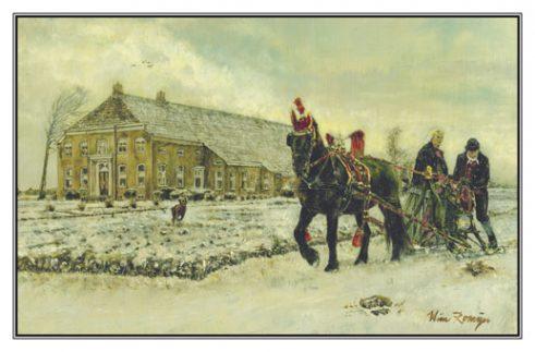 Kerstkaart Fries paard voor arrenslede bij Groninger boerderij