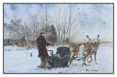 Kerstkaart Haflingers voor looike