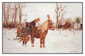 Kerstkaart Kinderen en Shetlander arrenslede