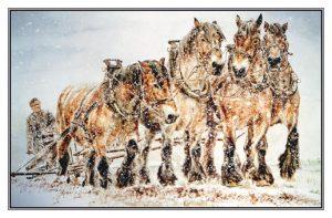 Kerstkaart Vierspan trekpaarden in sneeuwstorm