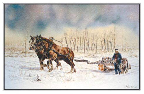 Kerstkaart Twee trekpaardvoseen voor mallejan
