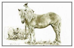 Valentijnsdag (wenskaart) Pony en hondje