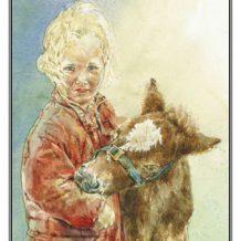 Verjaardskaart Meisje met ponyveulen
