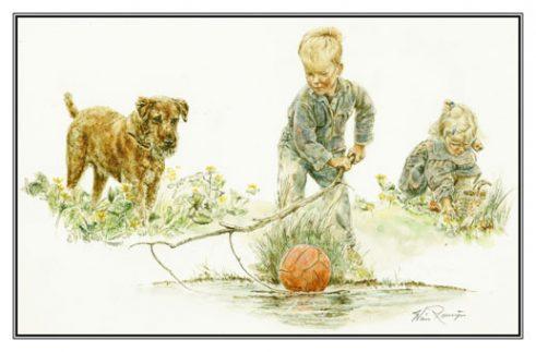 Verjaardagskaart (kind) Meisje, jongen en hond bij waterplas