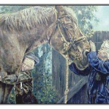 Verjaardagskaart (kind) Jongen en meisje bij trekpaard