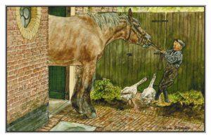 Verjaardskaart (kind) Jongen met trekpaard en ganzen
