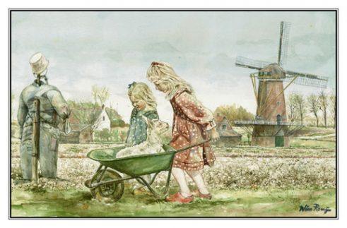Verjaardagskaart (kind) Twee meisjes en geitenlam bij molen