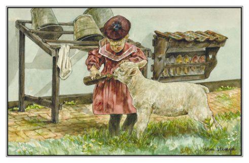 Verjaardagskaart (kind) Meisje bij emmerrek geeft leblam melk