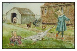 Verjaardagskaart (kind) Twee meisjes en ganzen bij boerderij