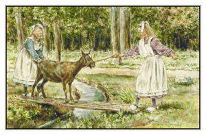 Verjaardagskaart (kind) Twee meisjes en geit op loopplank