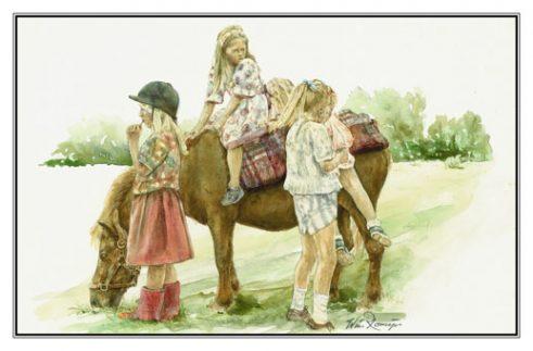 Verjaardagskaart (kind) Vier meisjes en Shetlandpony