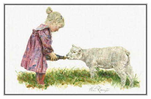 Verjaardagskaart (kind) Meisje voedt leblam