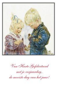 Verjaardskaart (kind) Jongen en meisje met kuiken