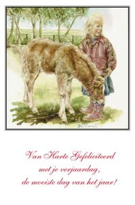 Verjaardagskaart (kind) Meisje en Shetlandveulen (bijtend in laars)
