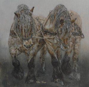 Trekpaarden in trekhouding